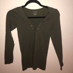 Stretchy Olive Green Long Sleeve